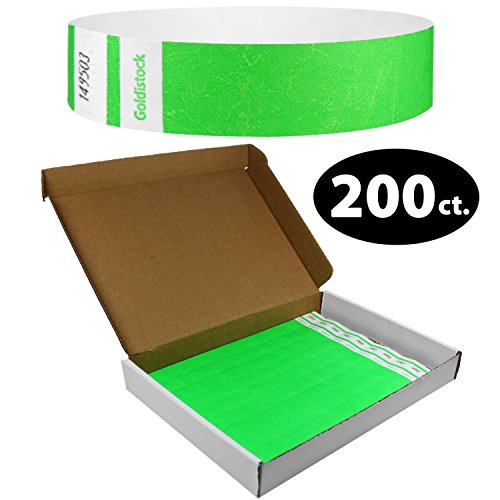"""Goldistock Select Series - 3/4"""" Tyvek Wristbands Day Glow Neon Green 200 Count with Box"""
