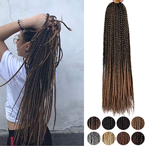 Box Braids Crochet Hair Ombre - Alileader 30 Inch Crochet Box Braids Ombre 1cm in Diameter 3x Synthetic Braiding Hair Extensions Crochet Braids Hair 6 Packs/lot 22 Strands/pack (Omber#27)