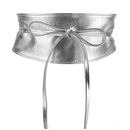 MYB Cintura fusciacca per donna in similpelle - modello obi - taglia unica - diversi colori disponibili (Argento)