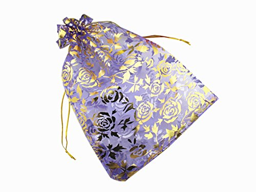 QIANHAILIZZ 8 x 12 Inch 100 Drawstring Heart Flower Bags Organza Jewelry Gift Pouch Candy Pouch Drawstring Wedding Favor Bags (lilac flower)