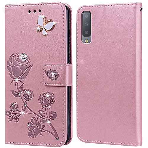 Funda para Samsung Galaxy A7 2018, funda para Samsung Galaxy A7 2018, plegable, función atril, tarjetero, carcasa de silicona antigolpes para Samsung Galaxy A7 2018 (6 pulgadas)