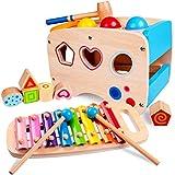 Rolimate Jouet en Bois Éducatif avec Jouet à Marteler 8 Notes Xylophone en Bois Cube de Tri de Formes Coloré Cadeau...
