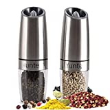 Gravity Electric Salt Pepper Mill Set, Home Grinder Induction Tilting Automatic Start with Blue LED Light Adjustable Coarseness One Hand Operation Switch Spices Shaker for Solid Seasoning (2pcs/Pack)