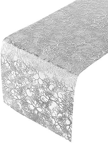 DISPOSABLE FALL TABLE RUNNER Branches Design 12 X 108 12 pc Shimmering Silver product image