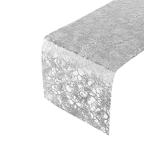 BRANCHES DESIGN FALL TABLE RUNNERS | Cristmas Decorations | 3 pc Shimmering Silver 12' x 108'
