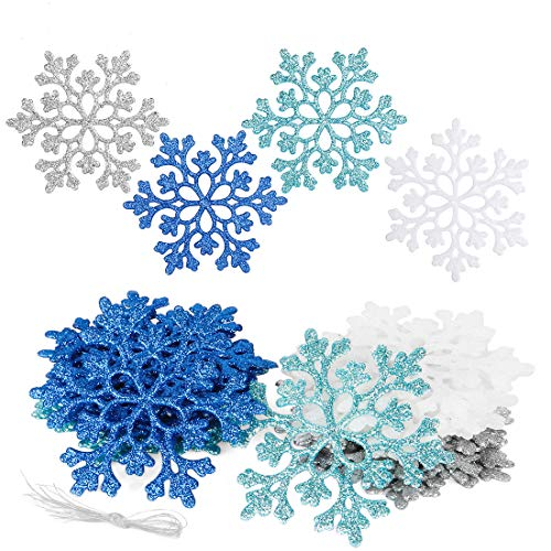 O-Kinee 24 Stück Schneeflocken Weihnachten Deko, Schneeflockendeko, Weihnachtsbaum Deko Schneeflocke, Christbaumschmuck Schneeflocken Anhänger