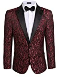 COOFANDY Men's Floral Party Dress Suit Stylish Dinner Jacket Wedding Blazer One Button Tux...