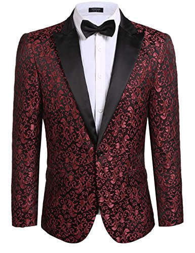 Coofandy Mens Floral Party Dress Suit Stylish Dinner Jacket Wedding Blazer One Button Tuxdeo, Red, US M(Chest 44.9