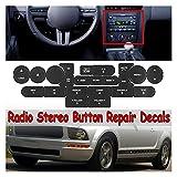 Prospective Coche Interior Frente Multimedia Am FM CD Radio Estéreo Botón Reparación Etiquetas Pegatinas Estilo Black Plástico Ajuste para Ford Mustang