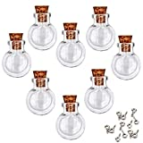 LEFV 24Pcs Mini Glass Bottles with Cork Stoppers - 1 Inch Small Tiny Vials Jars Wishing Message Bottles Decorative Charms Necklace Pendant for Party Favors,Flat Round