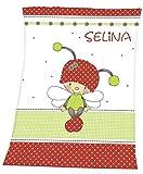 Decke mit Namen weiss-rot Käfer-Schmetterling für Kinder und Babys...
