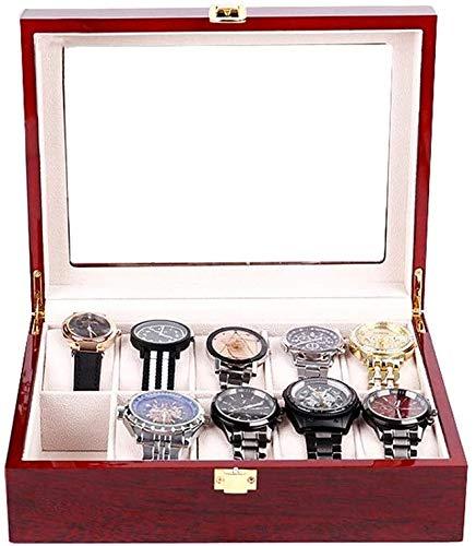 TAHMM Caja de almacenamiento de reloj para joyas y relojes, caja de madera con cajón de exhibición de joyas, caja de almacenamiento para hombres y mujeres
