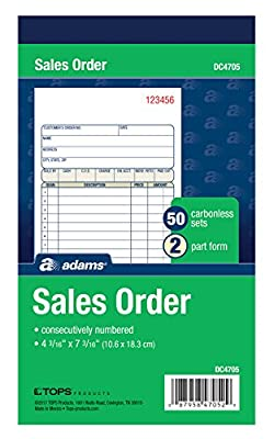 Adams Sales Order Book, 2-Part, Carbonless, White/Canary, 4-3/16 x 7-3/16 Inches, 50 Sets per Book (DC4705)