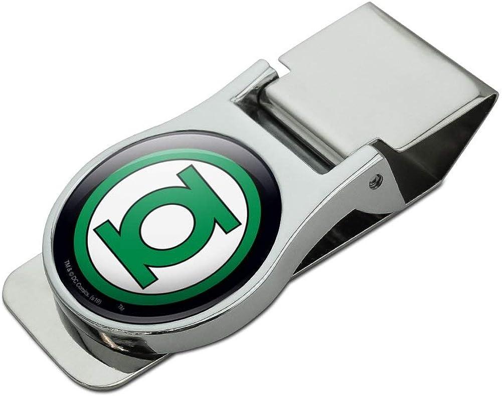 Green Lantern Logo Satin Chrome Plated Metal Money Clip