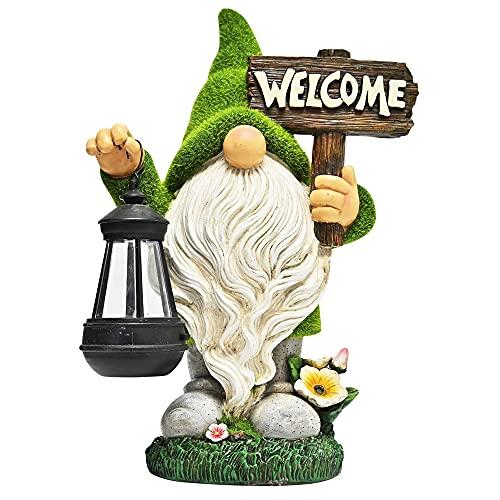 AXYWINBO Gartenzwerg,Gartendeko Figuren,Gartenfiguren Für Außen,WeihnachtlicherTomte Gnom mit langem Bart mit Kristallkugel mit LED Solarleuchte Lichtern