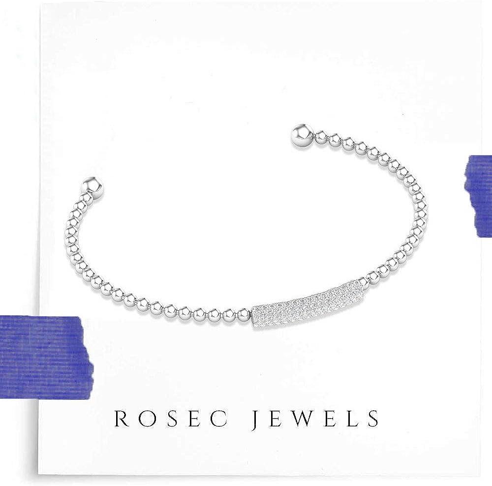 SGL Certified Pave Diamond Beaded Cuff Bracelet, Unique Flexible Bar Bracelet for Women, Minimalist HI-SI Color Clarity Diamond Anniversary Bracelet
