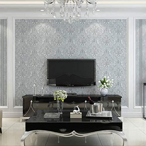 Karrnta Papel Pintado no Tejido Rayas Europeas de Damasco para el Dormitorio Sala de Estar TV Fondo de Pared 0.53 m (1.73 W) x 10 m (32.8 'L) = 5.3 m²,B