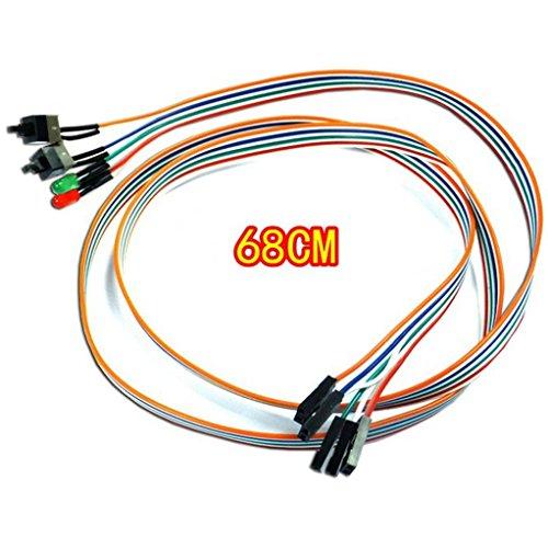 iusun ATX PC Compute Motherboard Power Kabel 2Schalter an/aus/Reset mit LED Licht 68cm, a