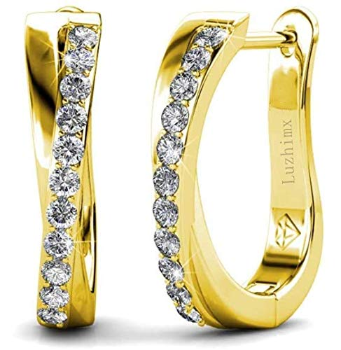 Luzhimx - Pendientes de aro para mujer con cristal austriaco – oro blanco / oro dorado