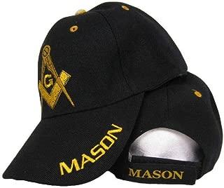 Black and Gold Mason Masons Freemason Masonic Lodge Ball Cap Hat Quality One Size Fits Most with Adjustable Strap,Hoop and Loop Closure