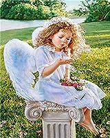 子供のためのダイヤモンド絵画キット、DIY 5Dラウンドフルドリルクロスステッチクリスタルラインストーン刺繡、家の壁の装飾翼を持つ少女40x50 cm