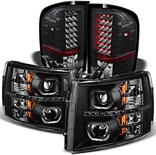 For [Dual LED Halo Ring] 07-13 Silverado Pickup Truck Black Projector Headlights + LED Tail light Set