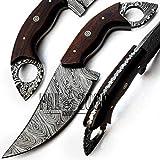 Cuchillo de Damasco, cuchillo de caza, cuchillo de caza, cuchillo de caza, viene con una funda, 9683