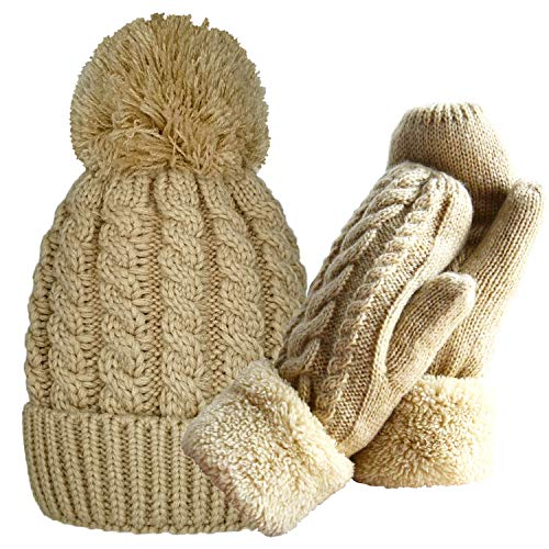Women's Winter Gloves Warm Lining - Cozy Wool Knit Thick Gloves Mittens in 11 color (beige+beige hat)