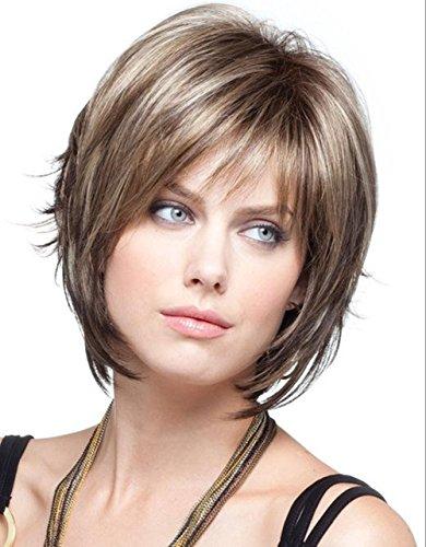 Dream Queen® court Marron droite Oblique Frange Perruque Cheveux pour femme