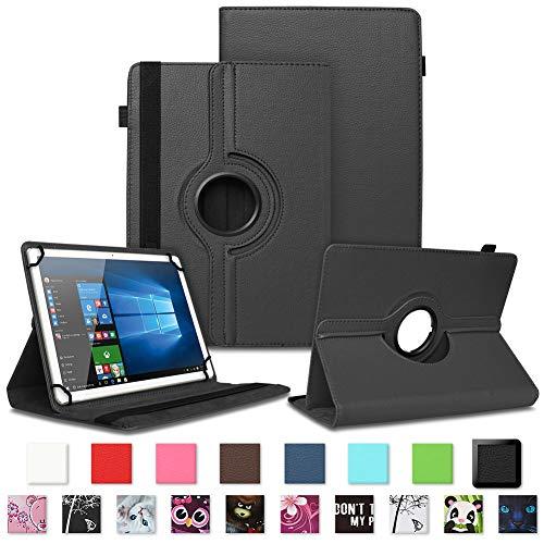 NAUC Schutzhülle kompatibel für Telekom Puls Tablet Tasche Tablettasche Hülle mit Standfunktion 360° drehbar Kunst-Leder Cover viele Universal Tablethülle Hülle, Farben:Schwarz
