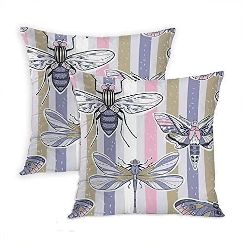 LINGF Funda de Almohada Dragonfly Juego de 2 Fundas de Almohada Elegantes libélulas y Mariposas Una Funda de Almohada de cojín con Rayas en Colores Pastel, 20 x 20 Pulgadas