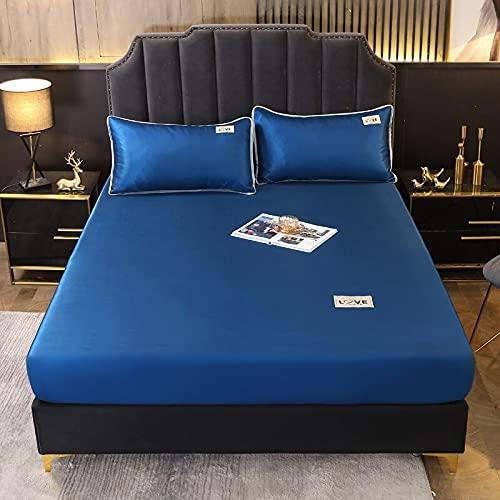 1 Pieza de Cama de Microfibra, sábana de Color Simple con Funda de Banda elástica, Funda de colchón tamaño Queen (sin Funda de Almohada) 150x200x25cm 8