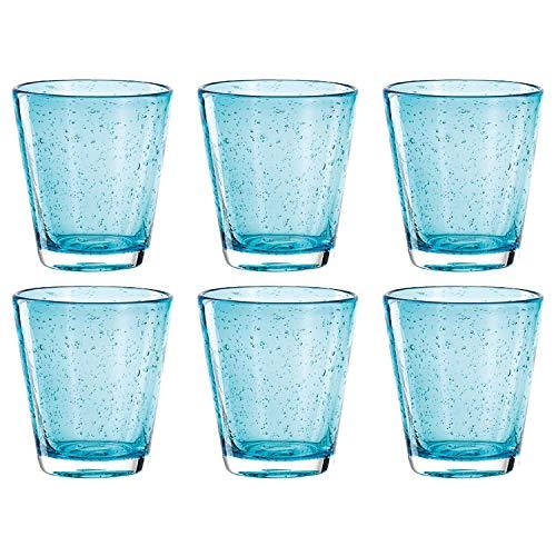 Leonardo Burano Trink-Gläser 6er Set, handgefertigte Wasser-Gläser, spülmaschinengeeignete Gläser, bunte Becher aus Glas, hellblau, 330ml, 034759