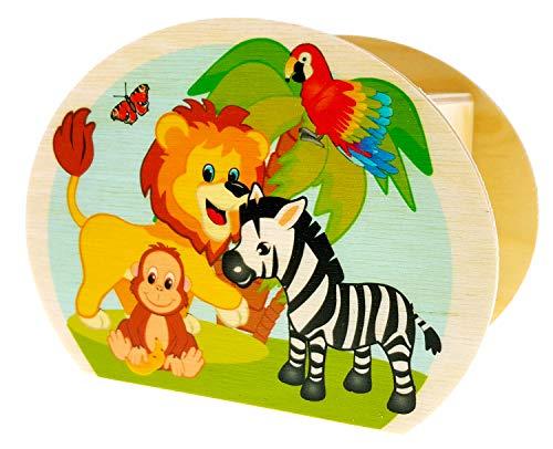 Hess Holzspielzeug 15217 - Spardose aus Holz mit Schlüssel, Dschungeltiere, Geschenk für Kinder zum Geburtstag, ca. 11,5 x 8,5 x 6,5 cm