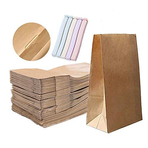 LIQUID Papiertüten Braun,Kraftpapiertüten, Geschenktüten Für Lunchpaket, Geburtstagsfeier, Weihnachten, Hochzeit, täglichen Gebrauch zu Hause, 100 Stück, 13*8*24cm