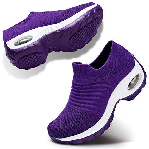 Women Wedge Shoes Breathable Mesh Sneakers Slip On Comfort Walking Shoes 8 Purple