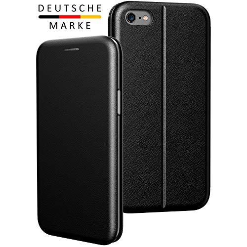 BYONDCASE iPhone 6 & 6s Flip-Case Hülle [Deluxe Leder Klapphülle] Handyhülle mit Einer 360 Grad Fullbody Rundumschutz-Funktion in Schwarz Ultra Slim Fliptasche kompatibel mit dem iPhone 6 & 6s