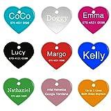 ABIsedrin Etiqueta de identificación de Mascotas para Perros/Gatos, Etiqueta de Perro Grabado para Mascotas, Etiqueta de Mascotas Personalizada 9 Formas y 9 Colores para Elegir-Corazón