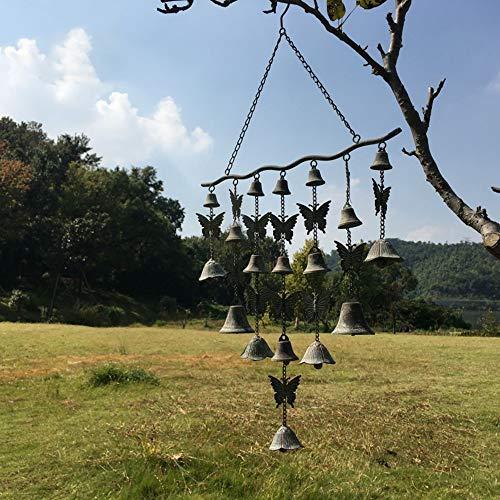ZHUZHUXIA Gartendekoration Schöner Hängender Garten Schmiedeeisen Windspiele Mit Schmetterlingen Und Mit Schmiedeeisen Glocke (H: 77 * B: 43cm)