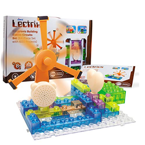 Lectrixs Educational STEM Learning Snap #039N Click Exploration Kit Circuit Electronic Projects Set Building Bricks 64 Piece Set 600 Projects Light Up DIY Stacking Engineering Toys for Kids 8