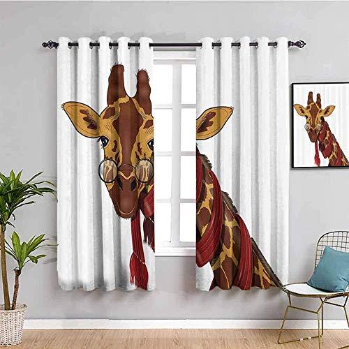 Nileco Cortinas de Opacas - Abstracto ojos animal jirafa - 234x138 cm - 3D Impresión Digital con Ojales Aislamiento Térmico - para Sala Cuarto Comedor Salon Cocina Habitación