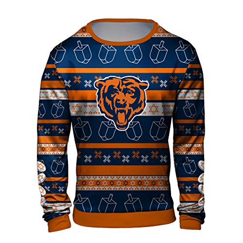 Forever Collectibles Chicago Bears Hanukkah Printed Ugly Crew Neck Sweater - Mens Large