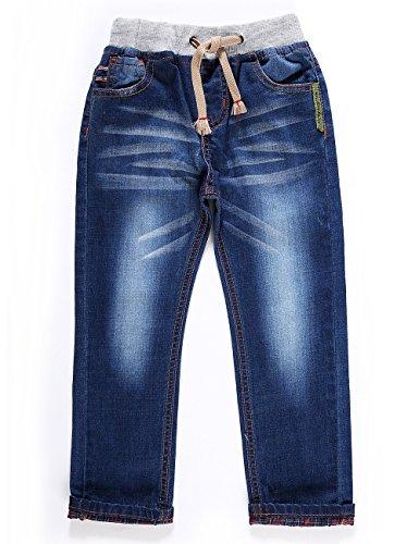 LITTLE-GUEST Little Boys' Jeans Kids Clothes Drawstring Waistband Denim Pants B103 (3 Years, Purplish Blue)