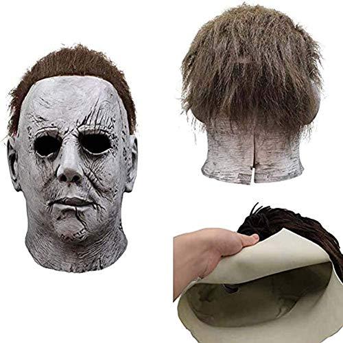 Buck Halloween Michael Myers Máscara Cosplay Disfraz Vacaciones Cosplay Mascarada Carnaval, Talla Única Máscara De Miedo Gris