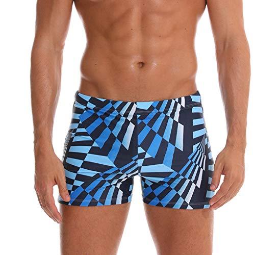 SANFASHION Shorts de Bain Homme Rayures Boxer Trunks Loose,Short de Surf Grande Taille Maillot de Bain Vintage Loisir Casual Plage Pantalon Court de Sport Été Mer