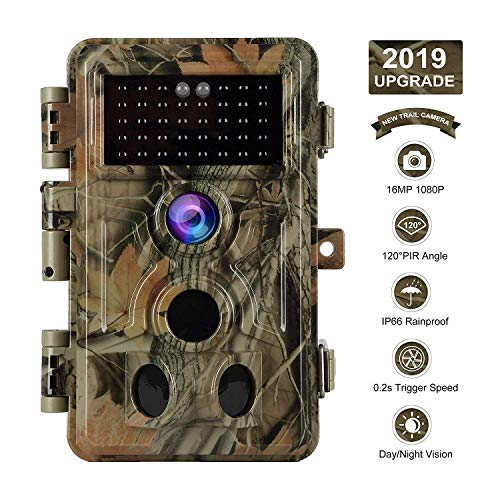 【2019 Upgrade】 Trail Camera 16MP 1080P Game Camera with No Glow Night Vision Up to 65ft 0.2s Trigger Time Motion Activated 2.4' Color Screen and Easy Operate Keypad Waterproof Wildlife Hunting Camera