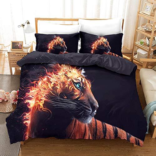 Kseyic De König Beddengoed met leeuwen, 3D-print, wilde dieren, leeuw en tijger, dekbedovertrek met kussenslopen, super…