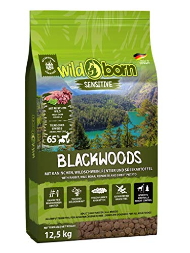 Wildborn Blackwoods 12,5 kg Hundefutter getreidefrei mit Kaninchen, Wildschwein & Rentier für alle Erwachsenen Hunde ab 6. Monaten | Hundefutter Trockenfutter ohne Zusatzstoffe Made in Germany