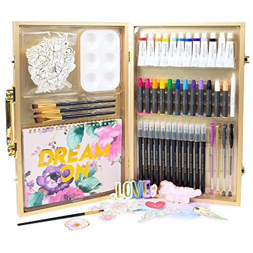STMT DIY Designer Art Studio by Horizon Group USA, Kit Includes 40+ Art Making Essentials.Water Colors,Oil Pastels,Brush Markers,Spiral Art Pad & More