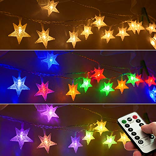 Homeleo 25ft 50 LED Multicolor Star String Lights for Bedroom Decorations, Battery Operated Led Christmas Lights for Apartment Dorm Room Decor(Remote/Timer/Warm White Multicolor Combination)